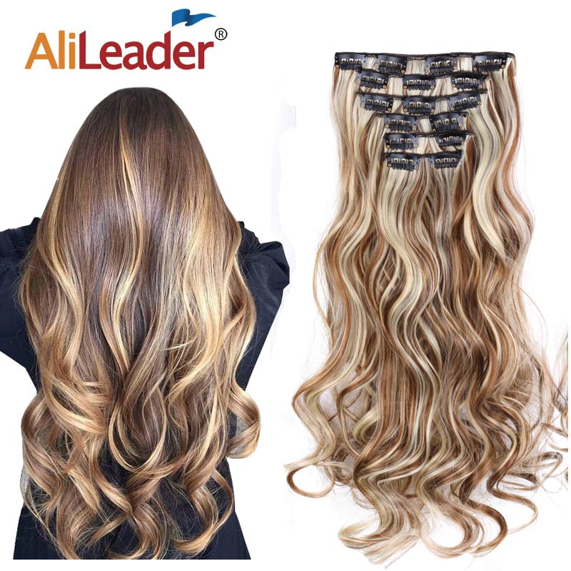 """Alileader 22""""Synthetic Long Curly Hair Heat Resistant Light Brown Gray Blond Thick Women Hair Extension Set Clip In Ombre Hair"""