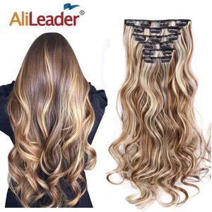 "Alileader 22""Synthetic Long Curly Hair Heat Resistant Light Brown Gray Blond Thick Women Hair Extension Set Clip In Ombre Hair(China)"