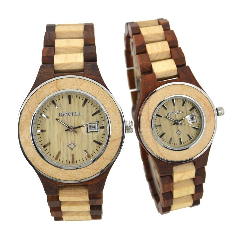 BEWELL 2018 Lovers Couple Watches For Men Women Luxury Wooden Watch With Date Display Waterproof Wristwatches As Valentine Gift