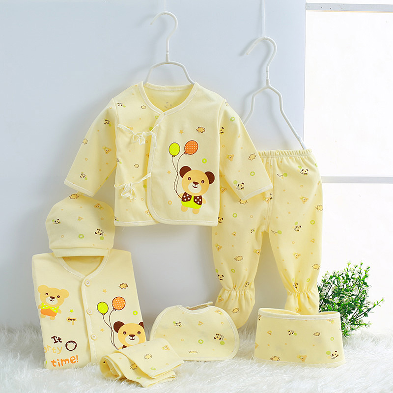 Hot sale 7 sets of newborn clothing brand baby clothes 0-3M infant tops Pants Hat, belt, scarfsuit 7pcs cotton underwear