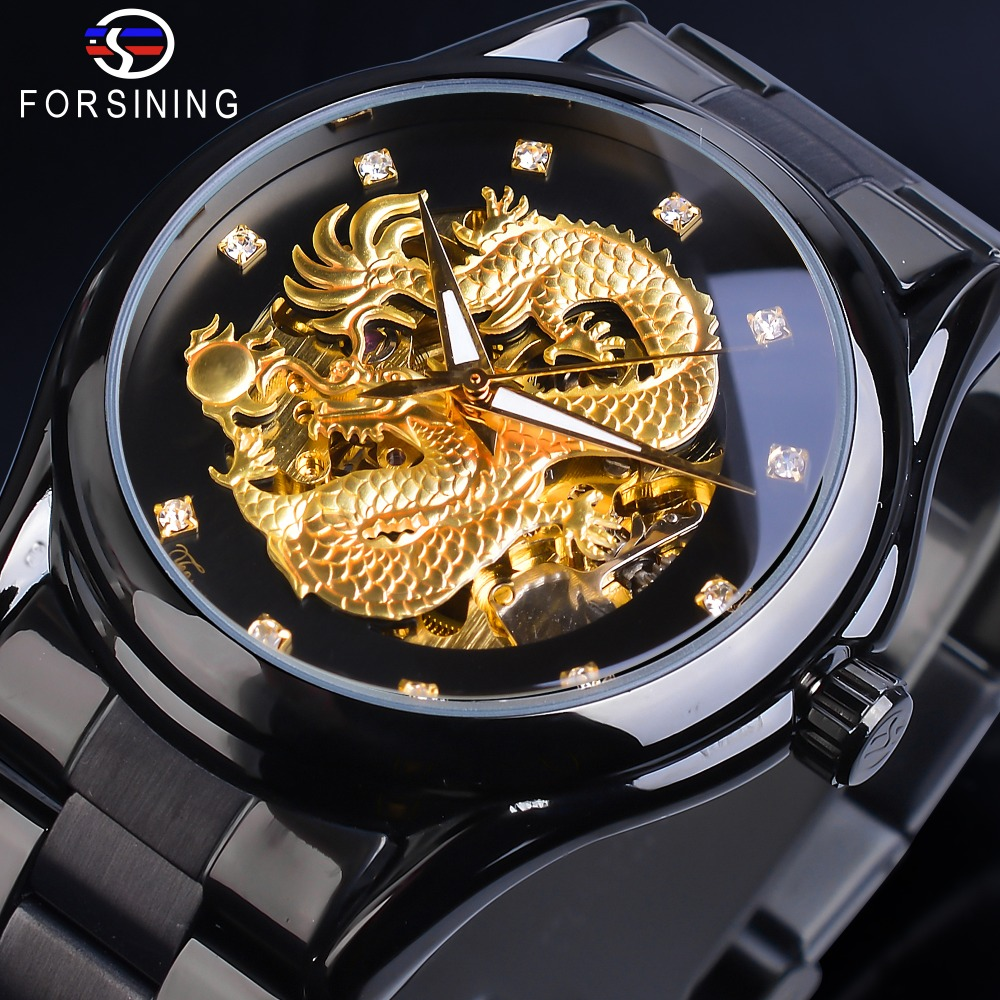 Forsining Skeleton Golden Mechanical Watch Mens Automatic 3D Carved Dragon Steel Band Wrist Watches Luxury Top Brand Self WindForsining Skeleton Golden Mechanical Watch Mens Automatic 3D Carved Dragon Steel Band Wrist Watches Luxury Top Brand Self Wind