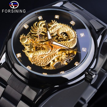 Forsining Skeleton Golden Mechanical Watch Men's Automatic 3D Carved Dragon Steel Band Wrist Watches Luxury Top Brand Self Wind forsining 3d skeleton royal retro design blue steel mesh band golden movement men mechanical male wrist watches top brand luxury
