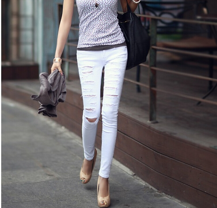 New 2017 Hot Sale Womens Casual Black High Waist Torn Jeans Ripped Hole Skinny Pencil Pants Sexy Slim Denim Women Jeans A0163