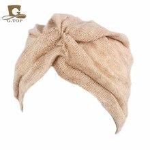 2016 Fashion Women Wool Blending Jersey Turban Full Head Covering Winter Headwrap Lady Hijab Turban Headband Turbante for Women