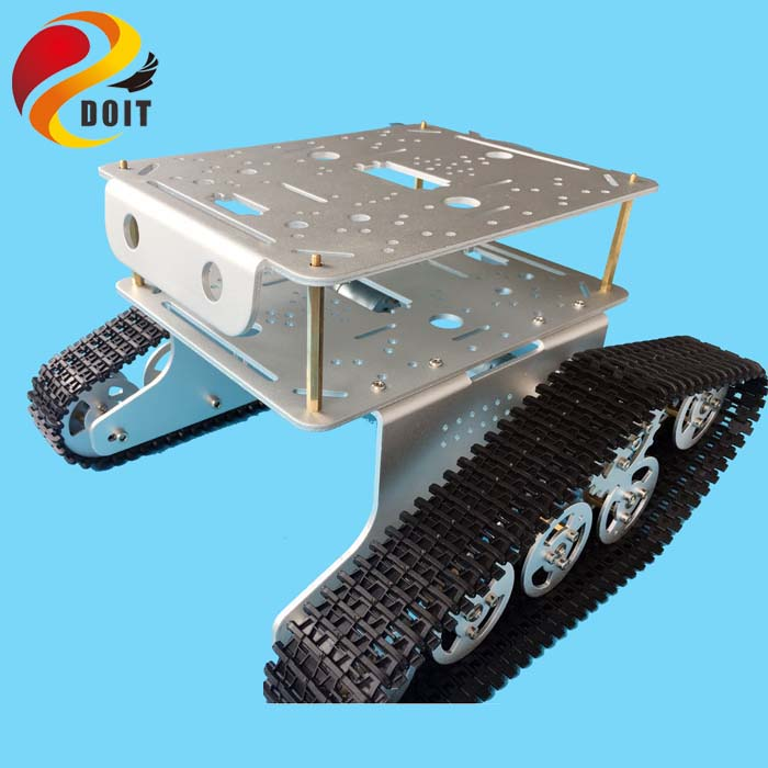 цены Original DOIT Double Decker Robot Tank Car Chassis T300 from DIY Crawler Tracked Model Robotic Experiment Functional Realization