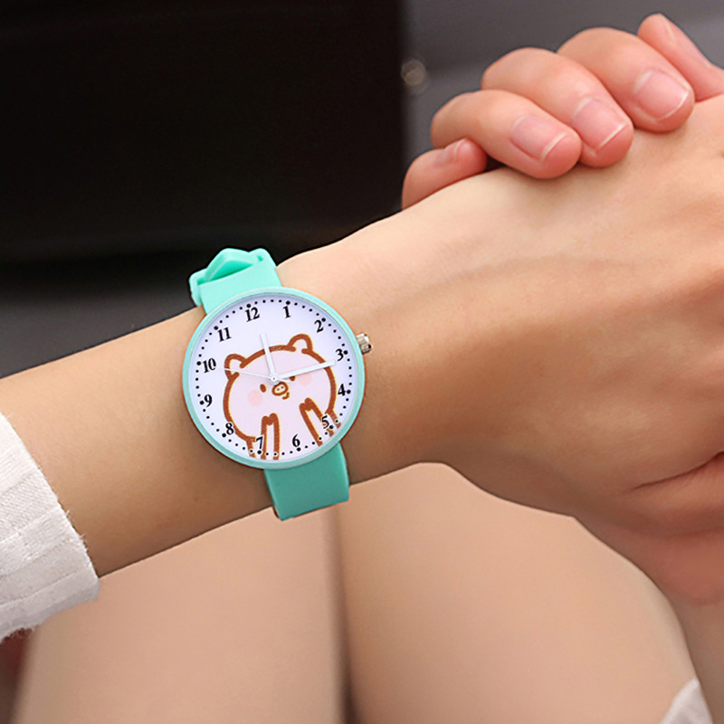 Women Jelly Silicone Casual Watches Cute Pig Cartoon Pattern Candy Ladies Quartz Wristwatch Girls Child Watch Clock Reloj Mujer