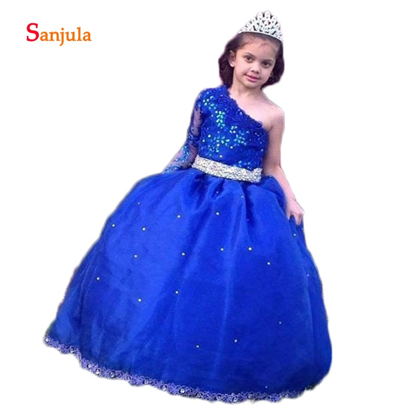One Shoulder Royal Blue Pageant Party   Dresses   Appliques Beaded Princess Ball Gown   Flower     Girls     Dresses   Evening   Dress   Kids D918