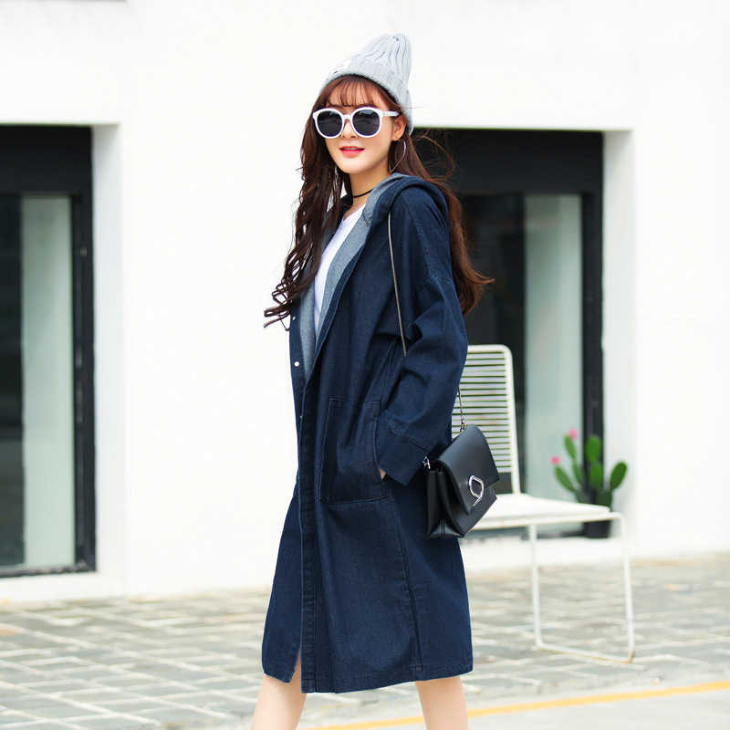 93997d617a3 ... Casual Oversized Spring Coat Women 2019 New Knee-length Hooded Long Trench  Coat Blue Black ...