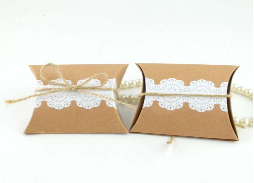 10pcs Kraft Paper Pillow Candy Box Rustic Wedding Favors Holder Bags Party Gift Boxes