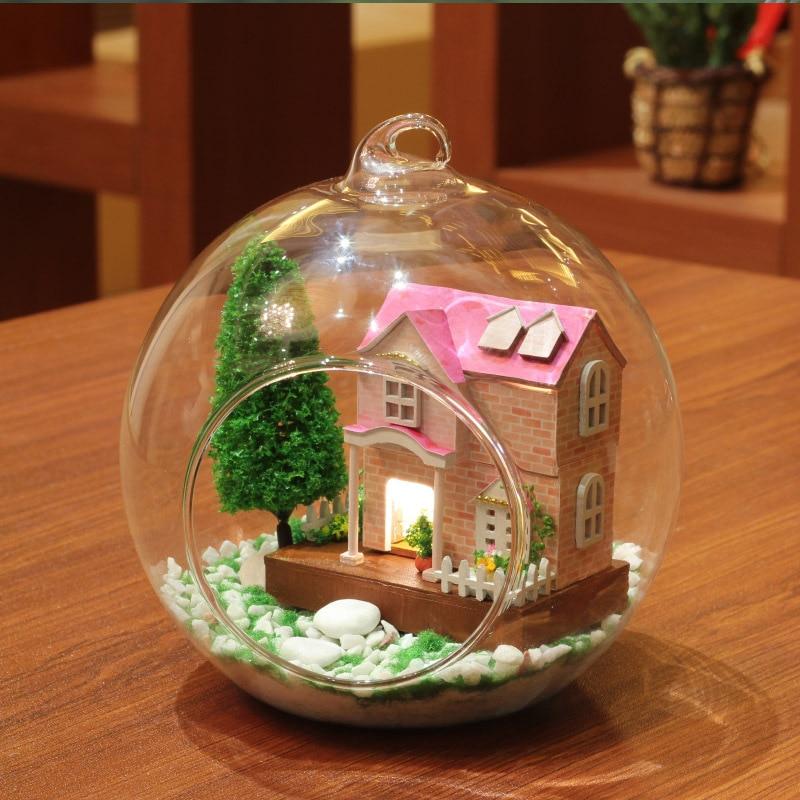 DIY Glass Ball Dollhouse Sweetheart MG002 Delicate Dreams Wooden Handmade Assembling Furniture Pink Villa Micro Landscape Doll 2