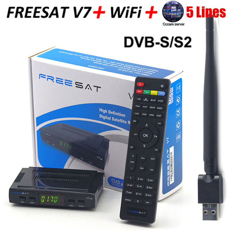 Free sat V7 HD With 1 Year Europe Cccam server DVB-S2 Receptor satellite Decoder + USB WIFI 1080p Satellite Receiver