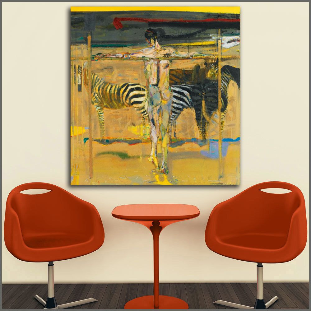 Printing Canvas Us 6 63 47 Off Large Size Printing Oil Painting See Zebra Eating Grass Wall Art Canvas Prints Pictures For Living Room And Bedroom No Frame In