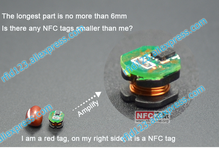 Mini Size 6mm NFC Tag Small As A Red Bean Mini NFC SIC43N1F 888 Bytes