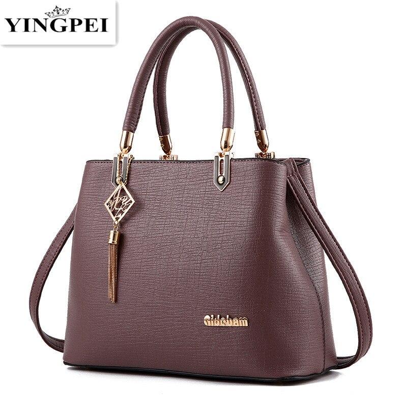 YINGPEI Women Bag Vintage Casual Tote Top-Handle Women Messenger Bags Shoulder student <font><b>Handbag</b></font> Purse Wallet Leather 2018 New