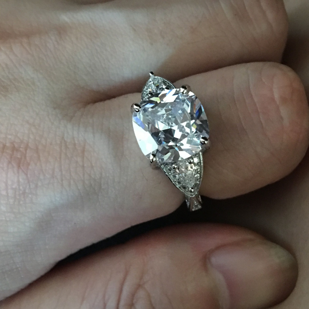 Greatest Vintage Women Engagement ring Jewelry Cushion cut 11mm 5ct 5A  TN29