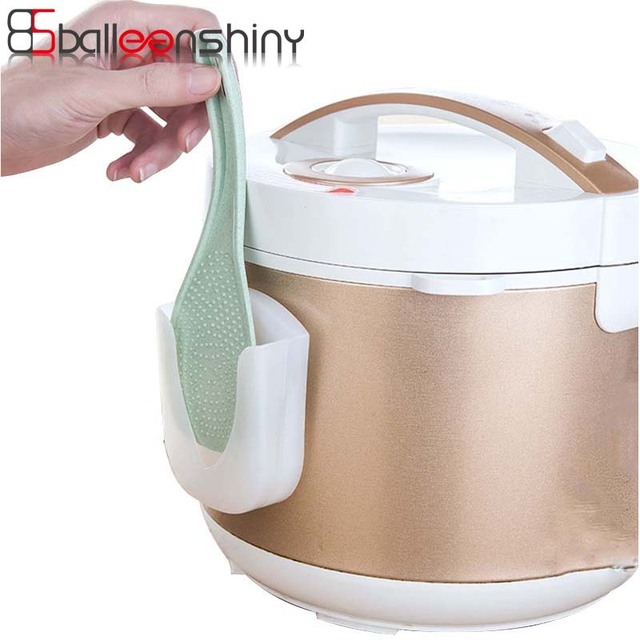 Balleenshiny Portable Rice Cooker Spoon Storage Pot Lid Shelf Cooking Kitchen Decor Tool