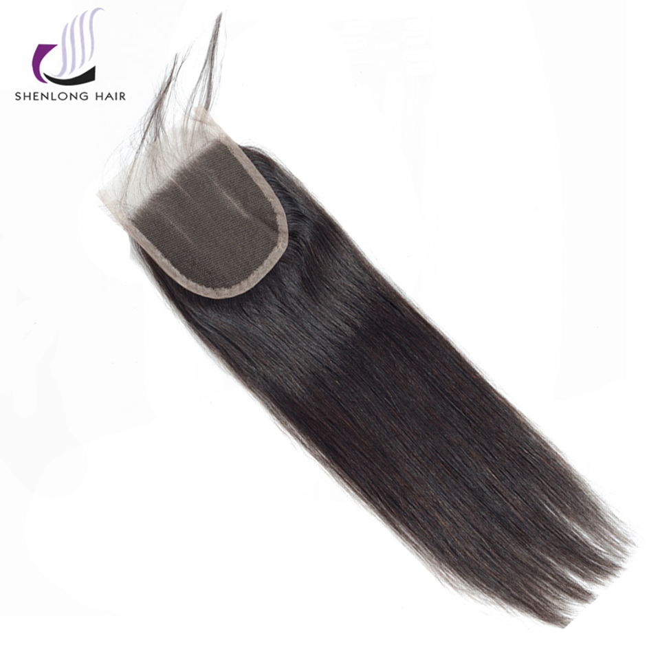 SHENLONG HAIR 4 * 4 Mongolian Straight Lce Closure Mänskligt Hår - Mänskligt hår (svart) - Foto 1