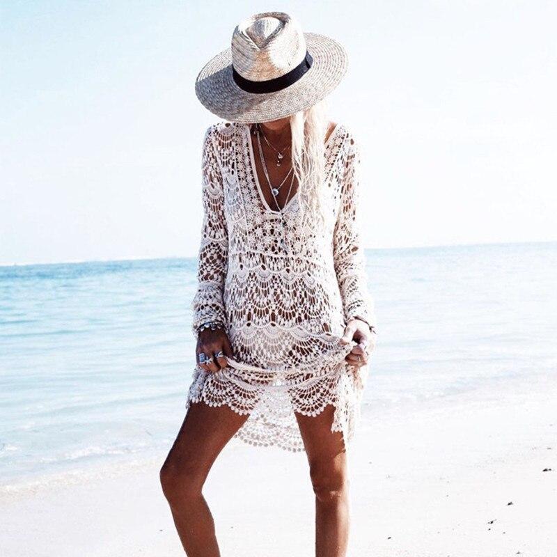 Cover Up Robe De Plage Lace Swimsuit Hollow Crochet Beach Bikini Long Sleeve Women Tops Bathing Suit Swimwear Dress White Tunic