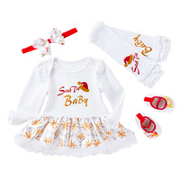 Newborn Baby Girl Clothing 4PCS/set Christmas Santa Claus Infant Romper Costume Outfit Bebe Clothes Jumpsuit Birthday Party Gift