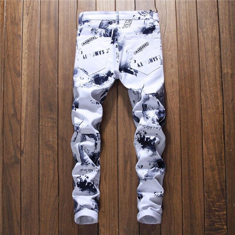 Hip Hop 3D printed Jeans Men Europeans Style Male white Gray Denim Elastic Skinny Jeans Men Slim Trousers Jeans Homme