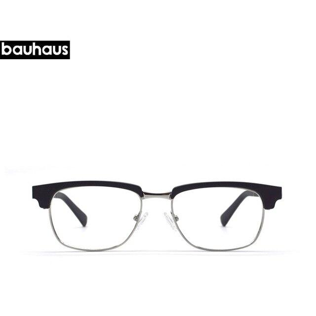 354cfa0b2b0 bauhaus Half frame metal glasses acetate gold glasses frames with clear  lens for unisex for men women Prescription eyeglasses