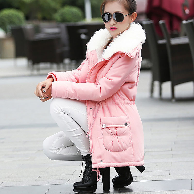 Women Winter Jacket Thicken Hooded Long Down Jacket Women Coat Slim Fit Hair Collar Cotton-padded Clothes Coat Women Down Coats