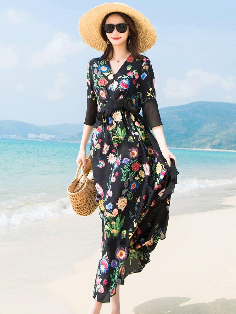 Soie Supérieure Floral Mince Maxi 2019 Imprimé Élégante Robes Femmes Long D'été Noir Black Verano Qualité Ww021 Robe pxvdqKwg