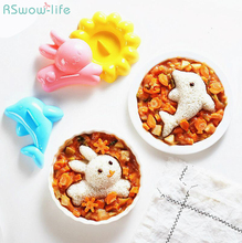 4pcs Rabbit Dolphin Rice Mould Cartoon Sushi Kitchen DIY Set PP Plastic Flower Animal Tools Handmade Kids
