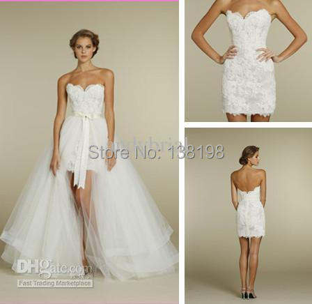 284 1 Sweetheart Two Piece Design Lace Short Mini Bridal Gowns Detachable Train Tulle Wedding