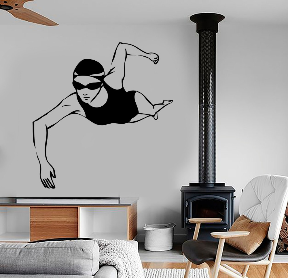 swimming girls wall decal sports gym vinyl fitness olympic routine sport swimming pool design wall sticker - Designer Wall Stickers