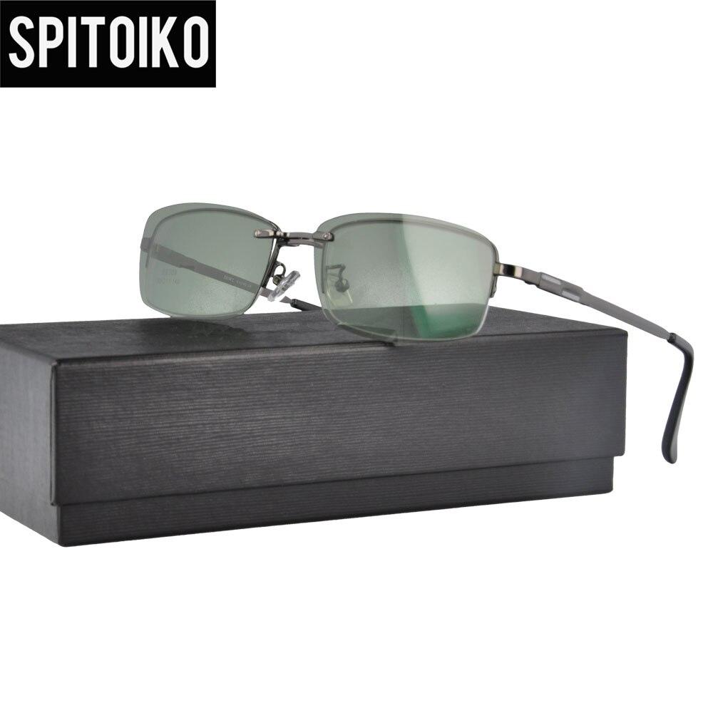 SPITOIKO Polarized Half Rim Sunglasses Clip On Lenses Metal Optical Frame Sun Glasses Sunshades S9309