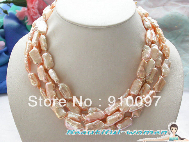 free shipping >>>65 23-25mm dens pink biwa freshwater pearl necklace