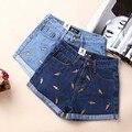 Novas Mulheres Verão Calções bordados Cenoura origem Estrangeira Retro Azul De Cintura Alta Jeans Curto Casual Lady Short Jeans