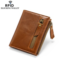 Leather Wallet Mens  wallet Rfid Retro Casual Double Zipper Short Purses mens wallets