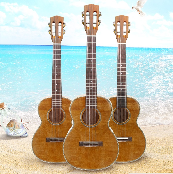Transporti Falas 23 inç Koncert Ukulele Guitar Mini Acoustic ig Handcraft Tiger Wood Hawaii 4 tela instrument Ukelele