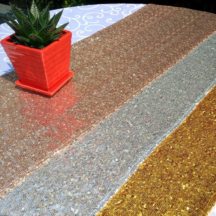sunnyrain 10 piezas de lujo camino de mesa de lentejuelas de oro de la boda