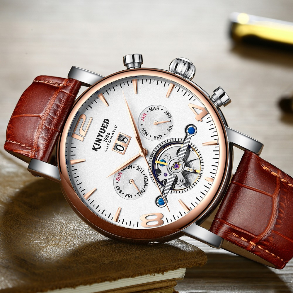 KINYUED Fashion Brand Watch Men Automatic Mechanical Luxury Skeleton Watches Mens Tourbillon Perpetual Calendar Reloj Hombre kinyued fashion tourbillon skeleton watch men sport luxury brand mens automatic mechanical watches calendar relogio masculino