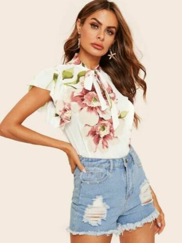 Women Ladies Short Sleeve Casual Chiffon Bow neckline T Shirt Floral Tops  Loose Summer