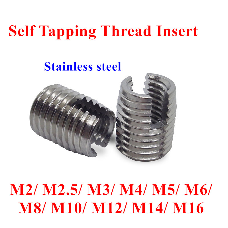 20/10pcs M2 M2.5 M3 M4 M5 M6 M8 M10 M12 M14 M16 Self Tapping Insert Screw Bushing 302 Slotted type Wire Thread Repair Insert