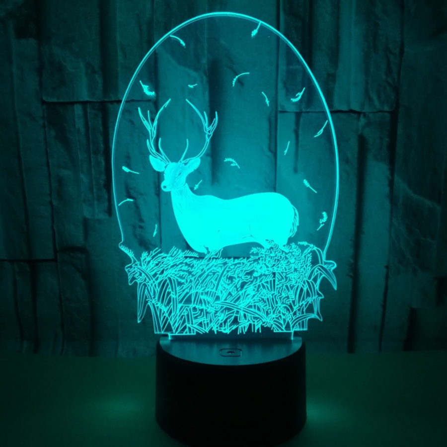 Lamp 3D Night Light Kids Toy LED 3D Touch Table Lamp 7 Colors Flashing LED Light Christmas Hallowe Decorations for Home