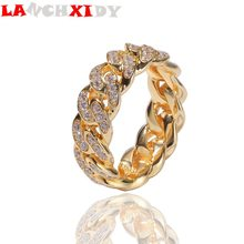 Hip Hop Cuban Chain Ring 8mm Fully Inlaid Ice Zircon Electroplated Metal Men Trend Fashion Personality Woman Jewelry Gift