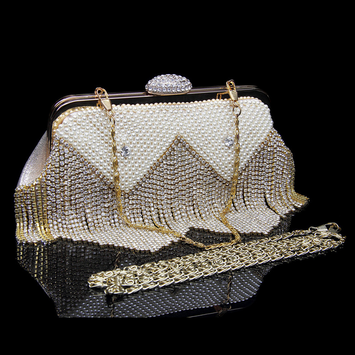 Women's Evening Bags Pearl Beading Tassel Lady's Clutches Bag High Quality Luxury Party Wedding Small Chain Shoulder bags Sac pearl beading tailered blazer