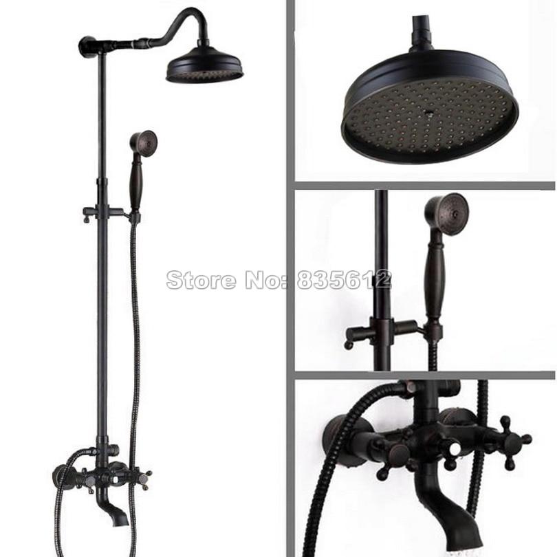black oil rubbed bronze bathroom 8 inch rain shower faucet set with dual handles tub mixer