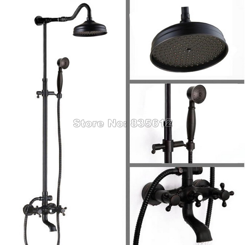 Black Oil Rubbed Bronze Bathroom 8 inch Rain Shower Faucet Set with Dual Handles Tub Mixer Taps + Handheld Shower Head Wrs665