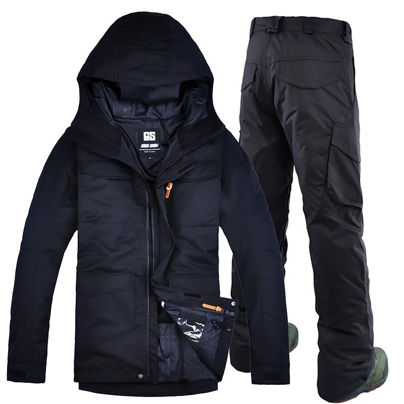 GSOU SEMÉES D'hiver Double Plaque de Ski Costumes Et En Plein Air Mâle Sport Couleur de Combinaison de Ski Imperméable Coupe-Vent Veste de Ski Et Ski pantalon