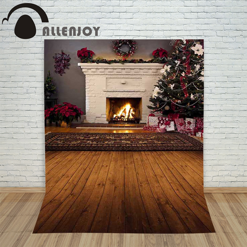 Christmas tree backdrop photography Allenjoy Wooden Carpet Fireplace xmas Tree background photographic studio vinyl camera allenjoy christmas photography backdrop wooden fireplace xmas sock gift children s photocall photographic customize festive