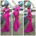 Мода Фуксия Аппликации Русалка Длинные Вечерние Платья партии 2017 Африканских Женщин Вечерние Платья Red Carpet Вечерние Платья Vestidas