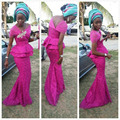 Moda Fucsia Appliques Sirena de Noche Largo Vestidos de fiesta 2017 Mujeres Vestidos de Noche de la Alfombra Roja Vestidos Formales Vestidas Africano