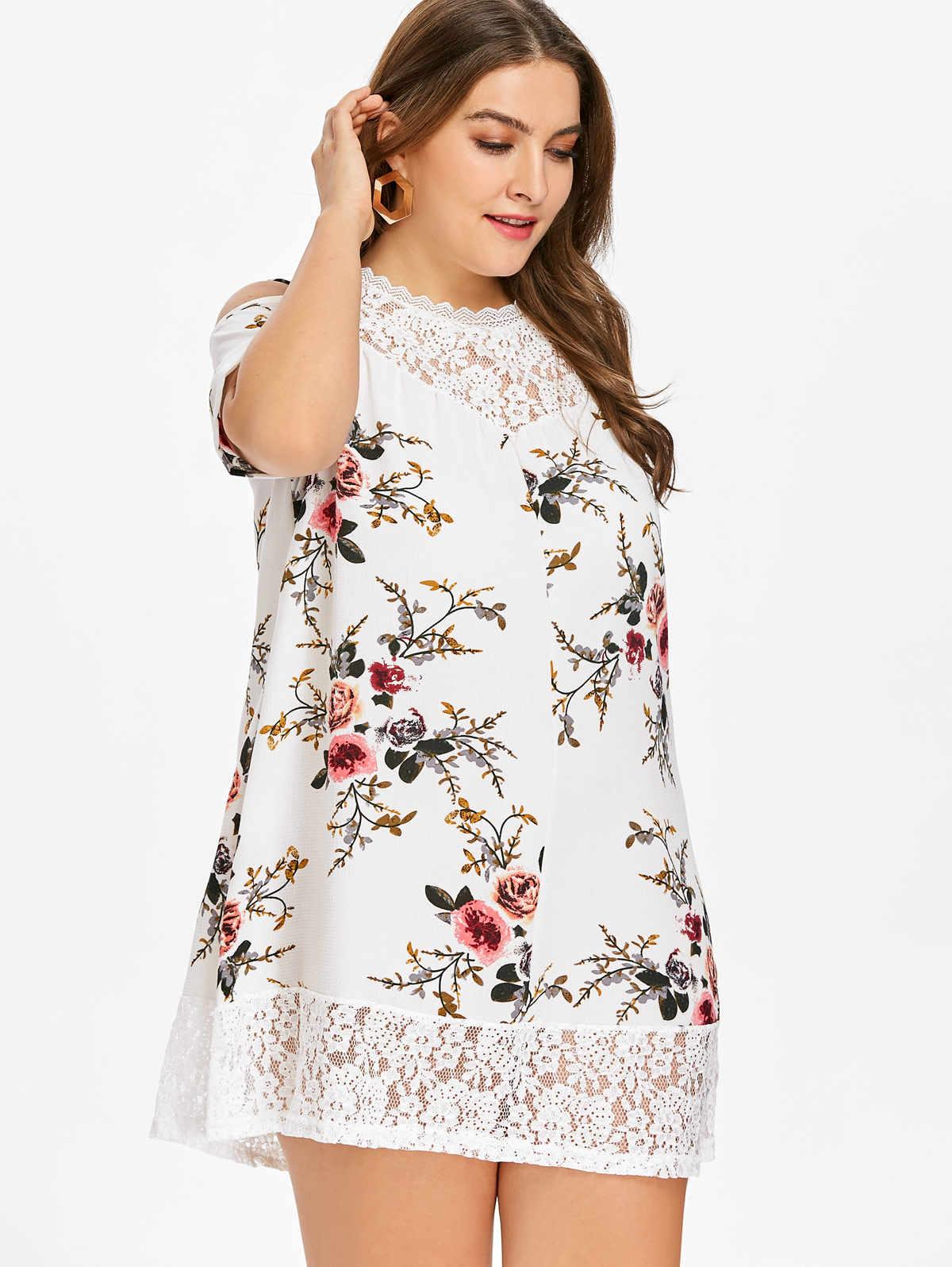 2a4c895bd1023 Wipalo Plus Size 5XL Floral Print Cold Shoulder Dress Summer Short Sleeves  Lace Trim Babydoll Mini Dress Vestidos Big Size