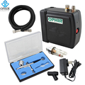 OPHIR Airbrush Kit with Air Compressor 0.3mm Dual-Action Spray for Cake Decorating Makeup Nail Art Hobby Paint _AC003B+004+011